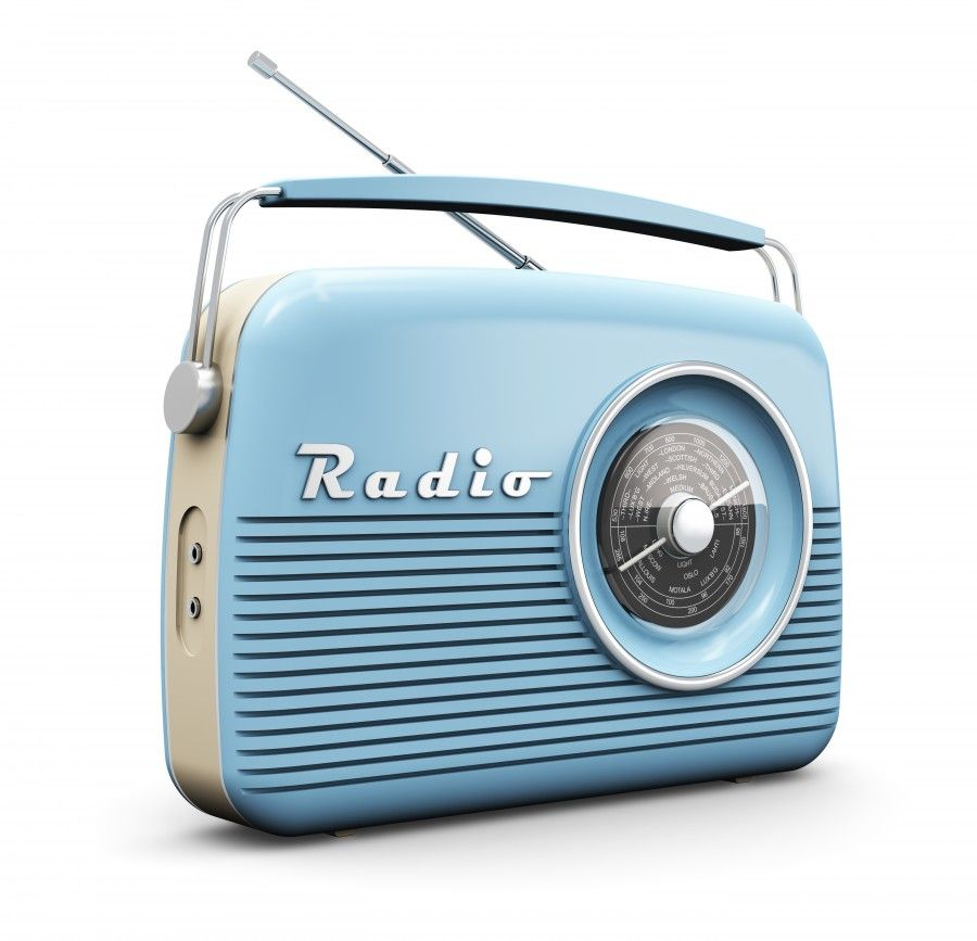 Old blue vintage retro style radio receiver isolated on white background