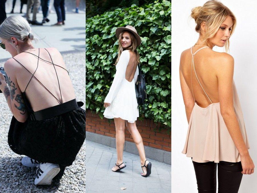 Tre look perfetti per il giorno che abbinano in modo causa chic la schiena nuda