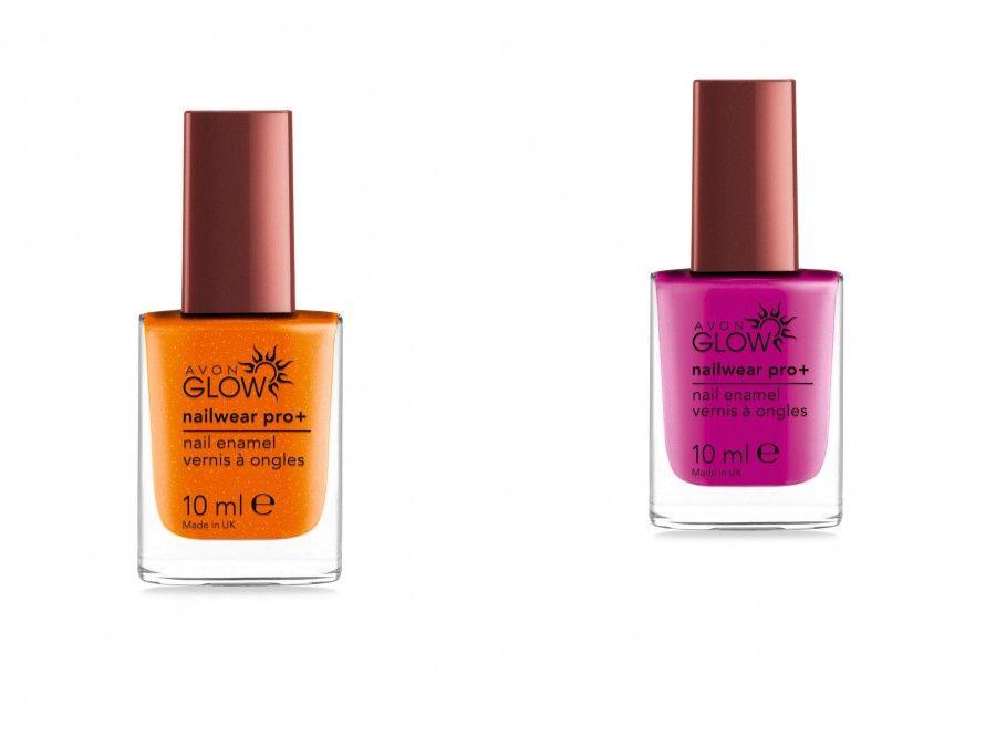 Linea Avon Glow di Avon nelle colorazioni Plush Berry e Flaming Orange.