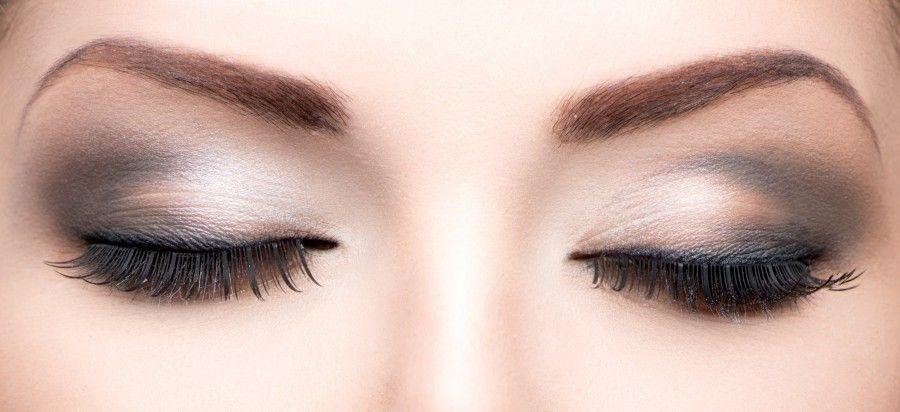 Beauty eyes makeup closeup. Long eyelashes, perfect skin