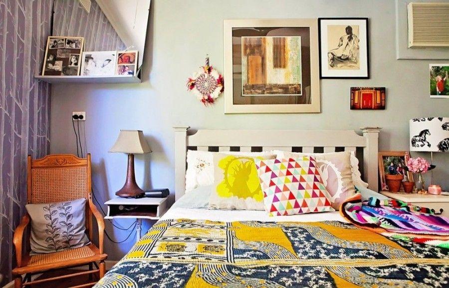 La camera da letto in stile bohemien