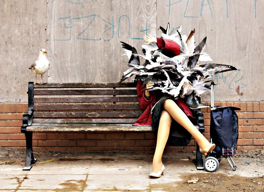 Banksy's Dismaland preview...A woman attacked by seagulls piece by Banksy, during the press view for the artist s biggest show to date, entitled 'Dismaland', at Tropicana in Western-super-Mare, Somerset. PRESS ASSOCIATION Photo. Picture date: Thursday August 20, 2015. Photo credit should read: Yui Mok/PA Wire