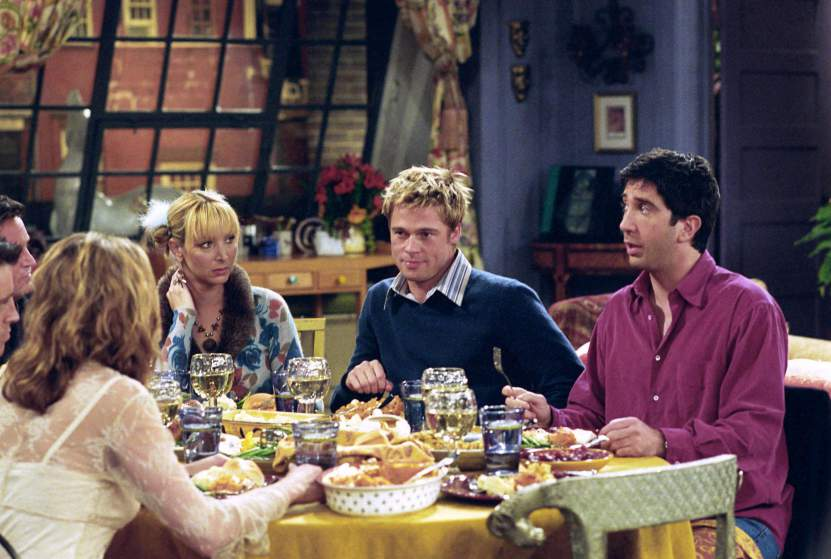 "FRIENDS -- ""The One With The Rumor""-- Episode 9 -- Aired 11/22/2001 -- Pictured: (l-r) Jennifer Aniston as Rachel Green, Lisa Kudrow as Phoebe Buffay, Brad Pitt as Will Colbert, David Schwimmer as Ross Geller -- Photo by : Danny Feld/NBCU Photo Bank"