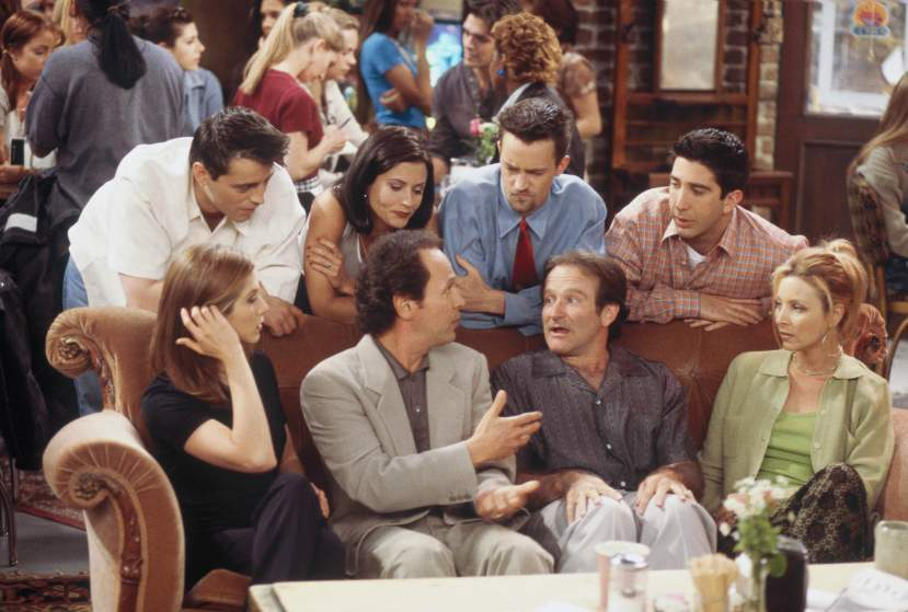 "FRIENDS -- ""The One with the Ultimate Fighting Champion"" Episode 24 -- Pictured: (front, l-r) Jennifer Aniston as Rachel Greene, Billy Crystal as Tim, Robin Williams as Thomas, Lisa Kudrow as Phoebe Buffay, (back, l-r) Matt LeBlanc as Joey Tribbiani, Courteney Cox as Monica Geller, Matthew Perry as Chandler Bing, David Schwimmer as Ross Geller -- Photo by: Paul Drinkwater/NBCU Photo Bank"