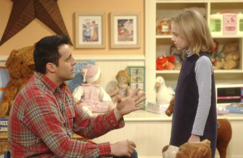 """FRIENDS -- """"The One with Princess Consuela"""" -- Episode 14 -- Aired 2/26/2004 --Pictured: (l-r) Matt LeBlanc as Joey Tribbiani, Dakota Fanning as Mackenzie -- Photo by: NBCU Photo Bank"""