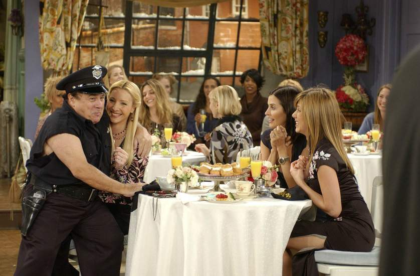 "FRIENDS -- ""The One Where the Stripper Cries"" -- Episode 11 -- Aired 2/5/2004 -- Pictured: (l-r) Danny DeVito as Roy the Stripper, Lisa Kudrow as Phoebe Buffay, Courteney Cox as Monica Geller-Bing, Jennifer Aniston as Rachel Green -- Photo by: NBCU Photo Bank"