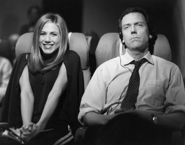 "FRIENDS -- ""The One with Ross's Wedding: Part 2"" Episode 23 -- Air Date 05/07/1998 -- Pictured: (l-r) Jennifer Aniston as Rachel Green, Hugh Laurie as The Gentleman on the Plane  (Photo by NBC/NBCU Photo Bank via Getty Images)"