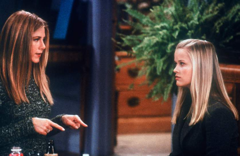 "FRIENDS -- ""The One with Rachel's Sister"" Episode 13 -- Air Date 02/03/2000 -- Pictured: (l-r) Jennifer Aniston as Rachel Green, Reese Witherspoon as Jill Green  (Photo by NBC/NBCU Photo Bank via Getty Images)"