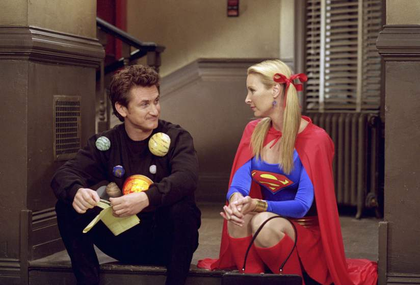 "FRIENDS -- ""The One with the Halloween Party"" -- Epsiode 6 -- Aired 11/1/2001 -- Pictured: (l-r) Sean Penn as Eric as ""The Solar System"", Lisa Kudrow as Phoebe Buffay as ""Supergirl"" -- Photo by: NBCU Photo Bank"