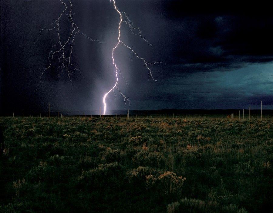"Walter De Maria, ""The Lightning Field,"" 1977. Long term installation near Quemado, New Mexico. Photo: John Cliett © Dia Art Foundation."
