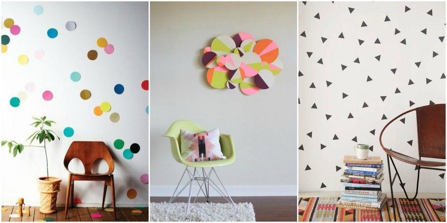 pareti della stanza decorate con carta colorata