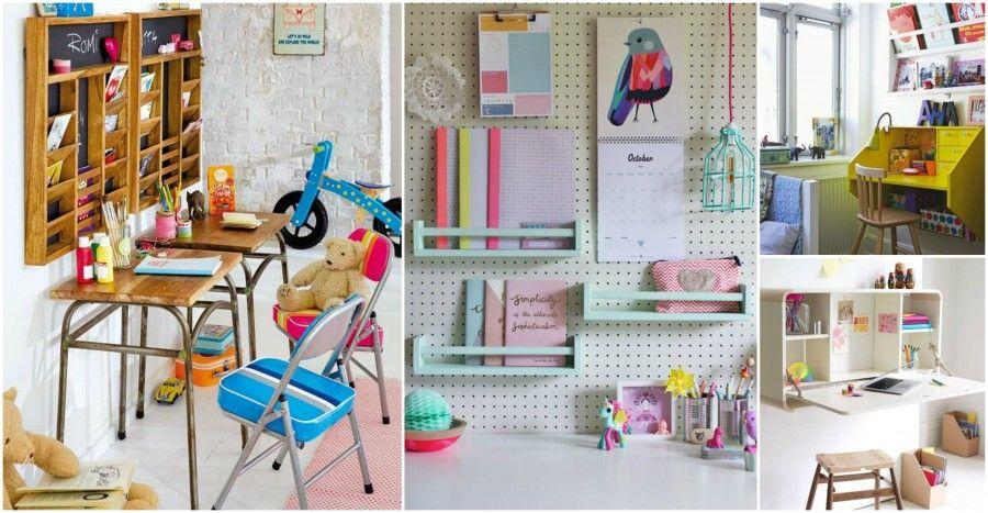 4 mensole sopra una scrivania per bambini