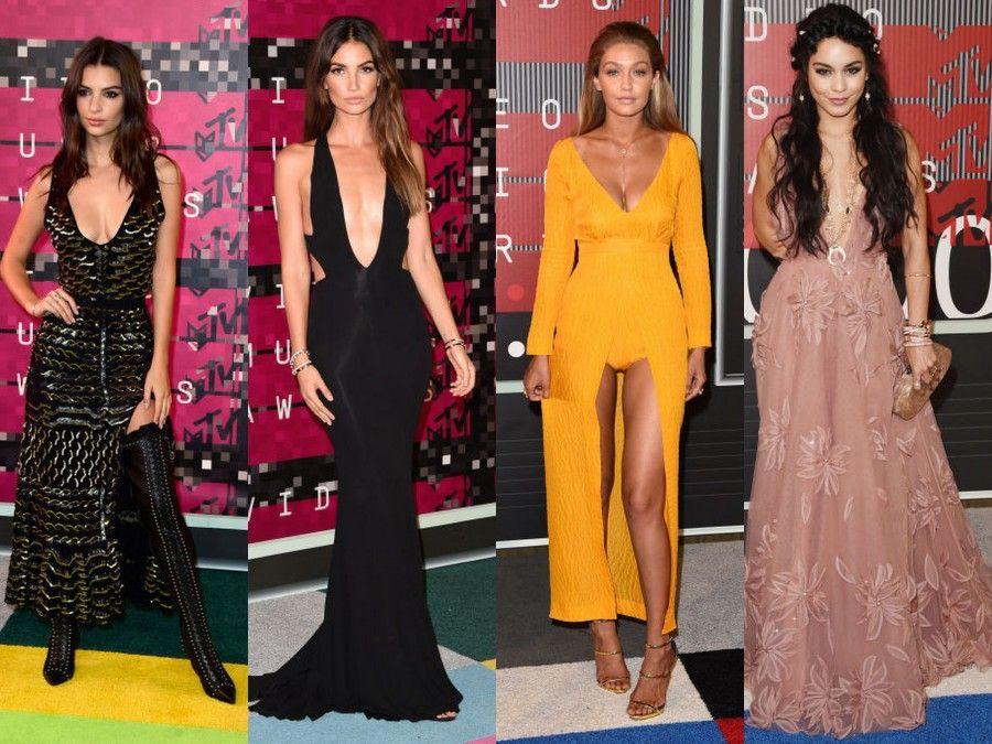Alcune star fotografate sul Red Carpet degli MTV VMA 2015: Emily Ratatowsky, Gigi Hadid, Lily Aldridge e Vanessa Hudgens