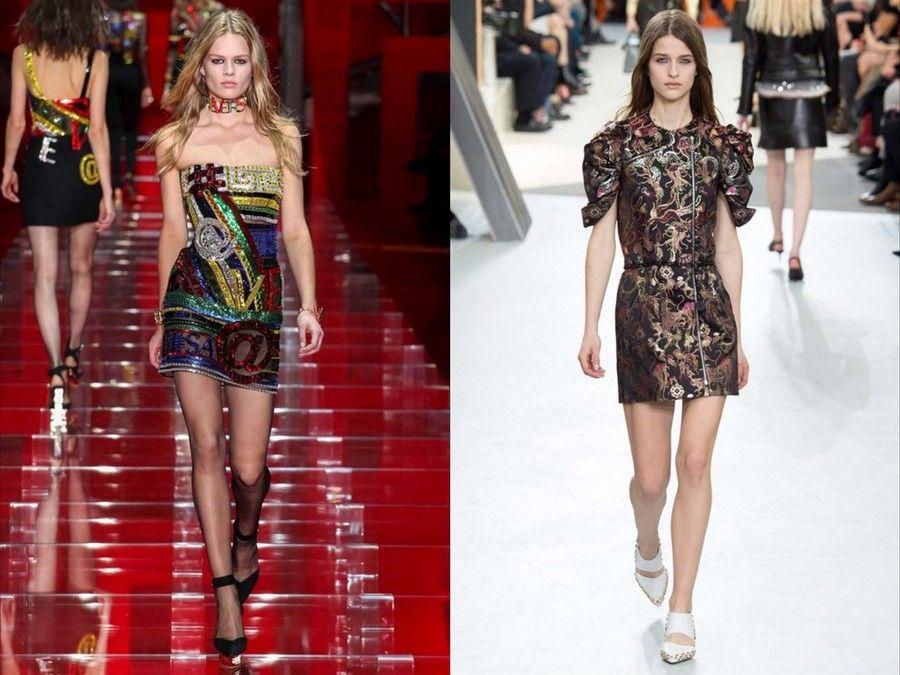 Mini dress di Versace e Louis Vuitton