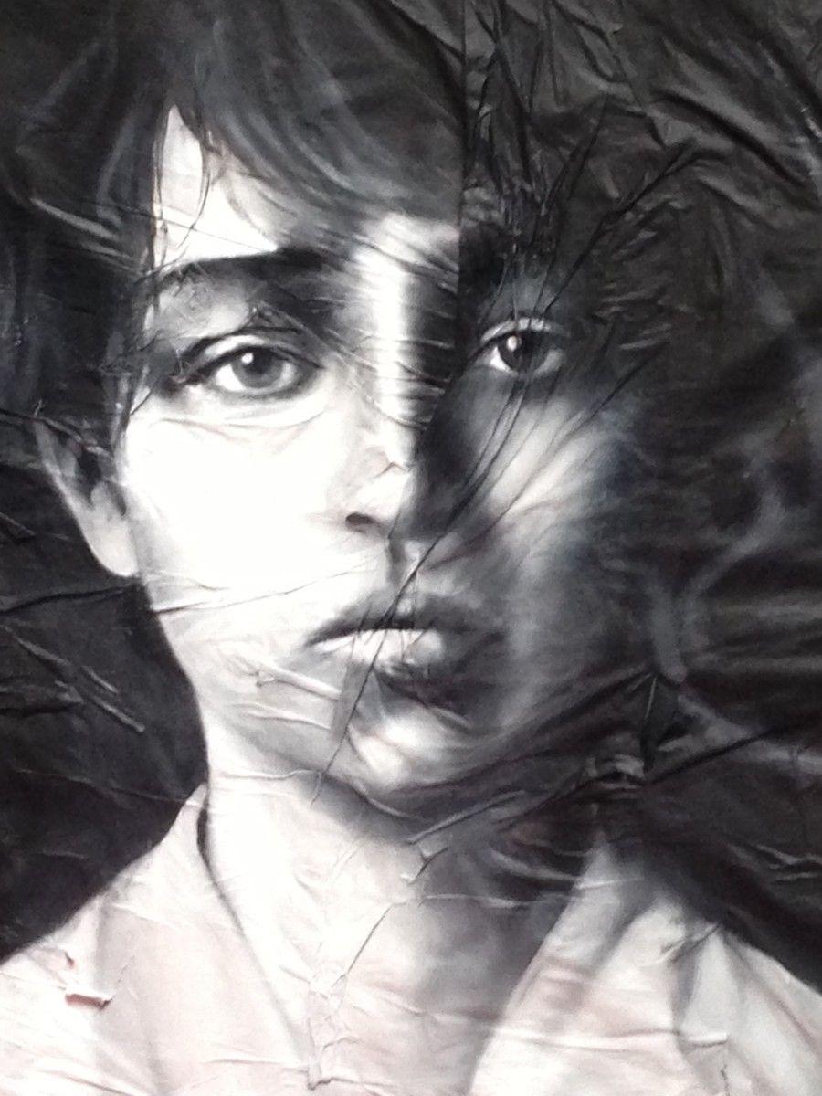 melanconia 80x80 olio su carta giornale supporto in tela