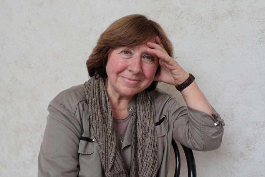 Svetlana Aleksievič a Mantova, l'11 settembre 2015. (Basso Cannarsa, Luzphoto)