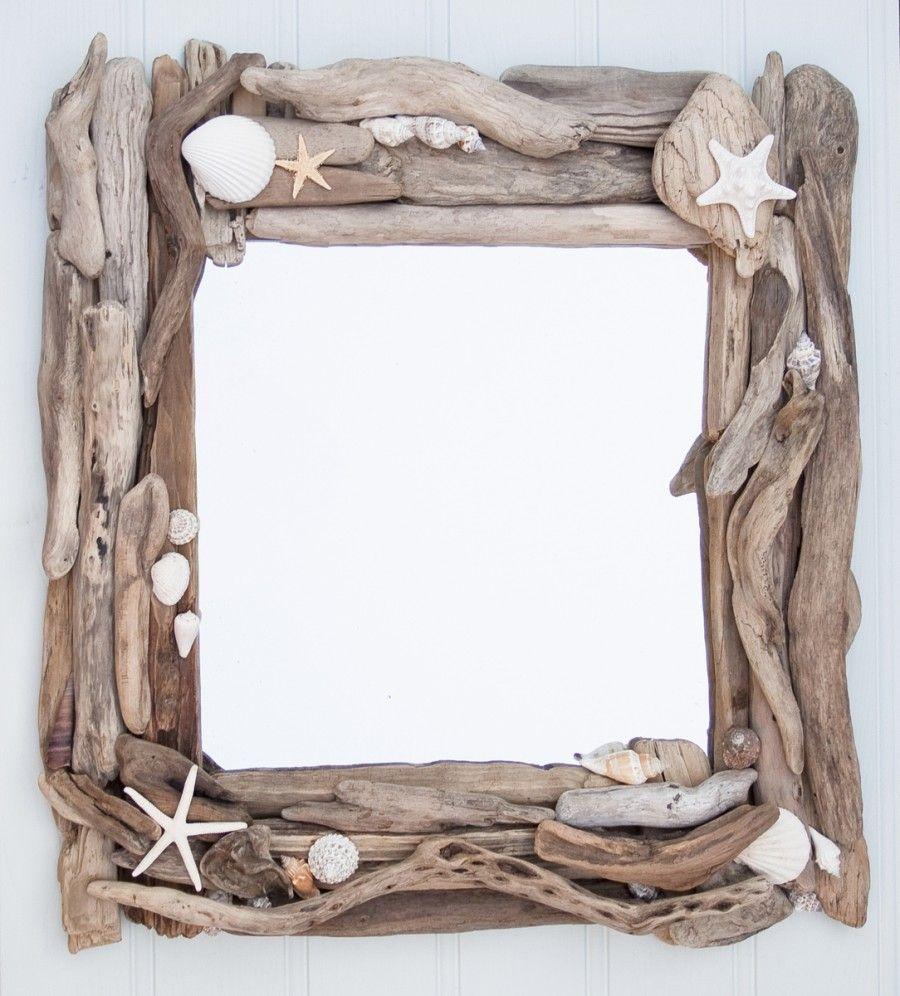 Specchio diy legni e conchiglie