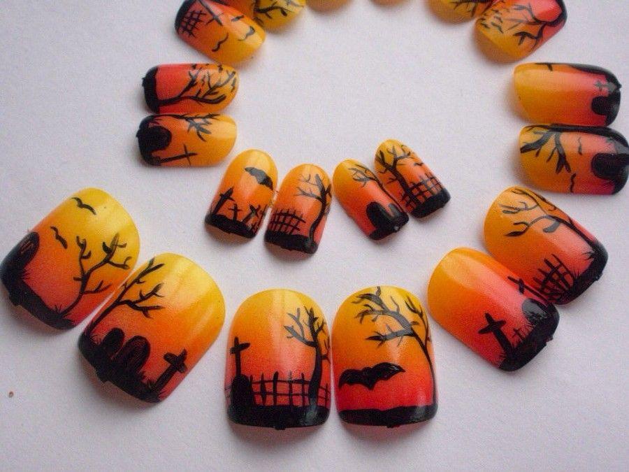 nail-art-halloween04arancione