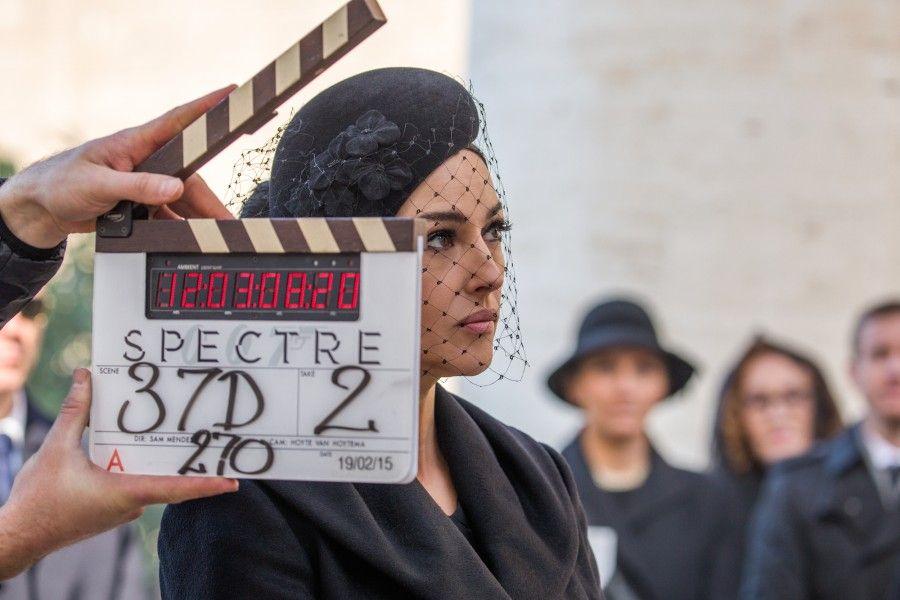 Monica Bellucci sul set di Spectre 007