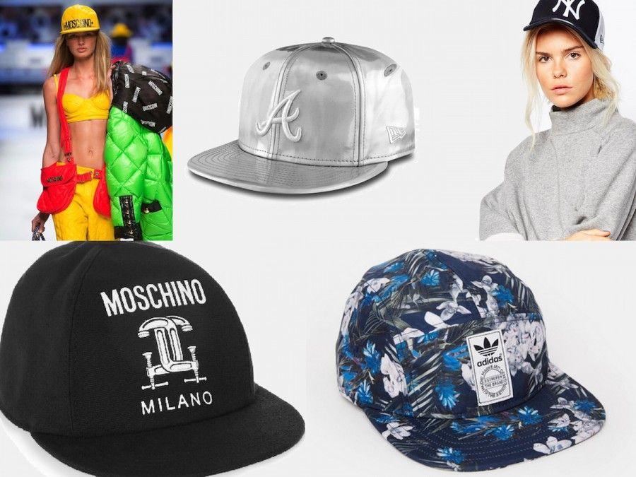Modelli Snapback di Moschino, Adidas, New Era in nero (sulla modella) e in argento (modelllo Chrown Shine Atlanta Braves)