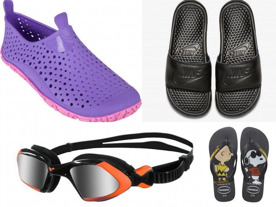 Sandalini di Decathlon, Ciabatte Nike, Ciabatte Havaianas e occhialini Viper di Arena