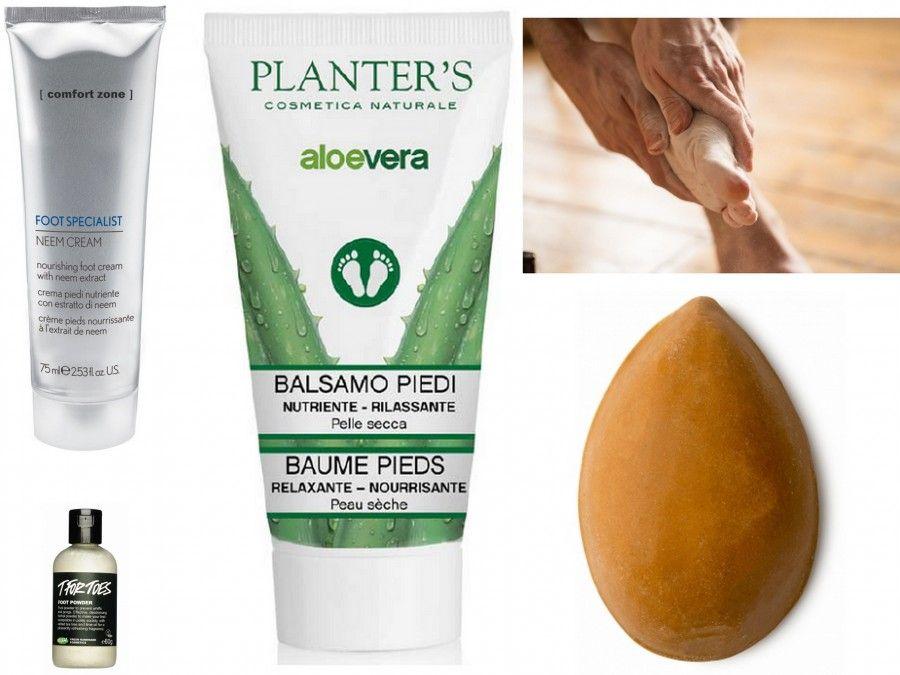 Balsamo Piedi di Planter's, Polverina piedi Orme Bianche di Lush, Pumice Power di Lush e Foot Specialist Cream di [Comfort Zone]
