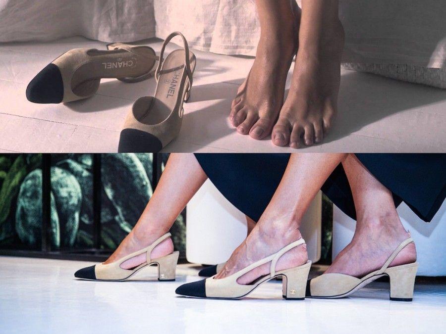 Le scarpe Chanel SlingBack in uno scatto della campagna lanciata su Youtube