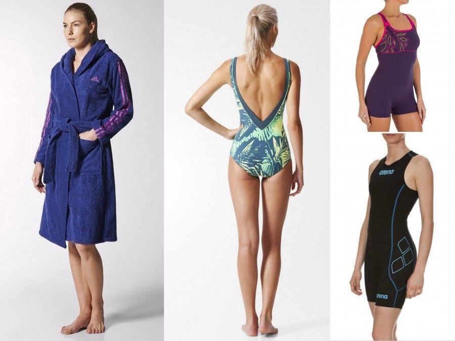Accappatoio e costume con fantasia verde e gialla Adidas, Body nero e Blu per Triathlon di Arena e costume con hotpants di Decathlon