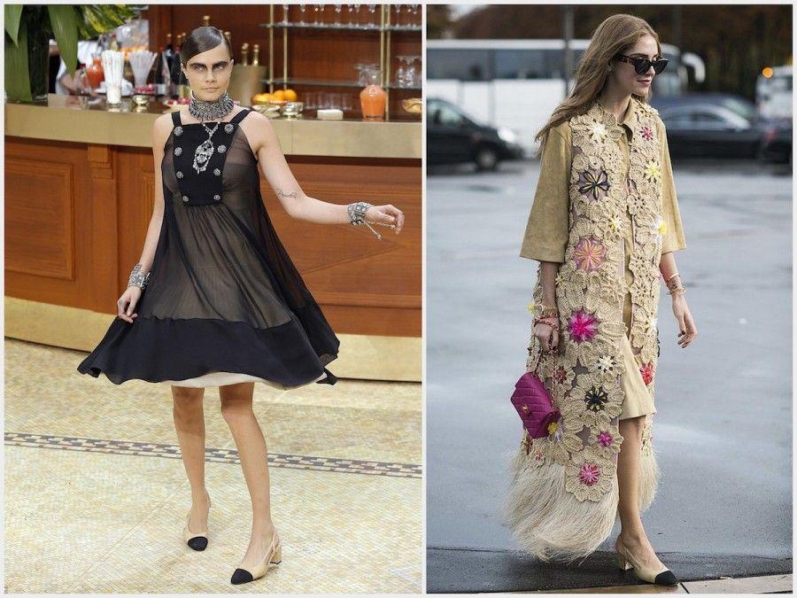 Cara Delevingne e Chiara Ferragni con scarpe Chanel SlingBack