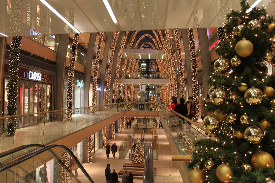 Christmas decorated shopping mall