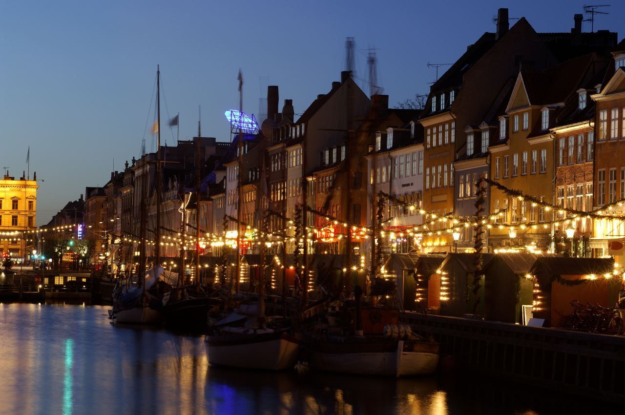 Denmark, Copenhagen, Nyhavn at Christmas.