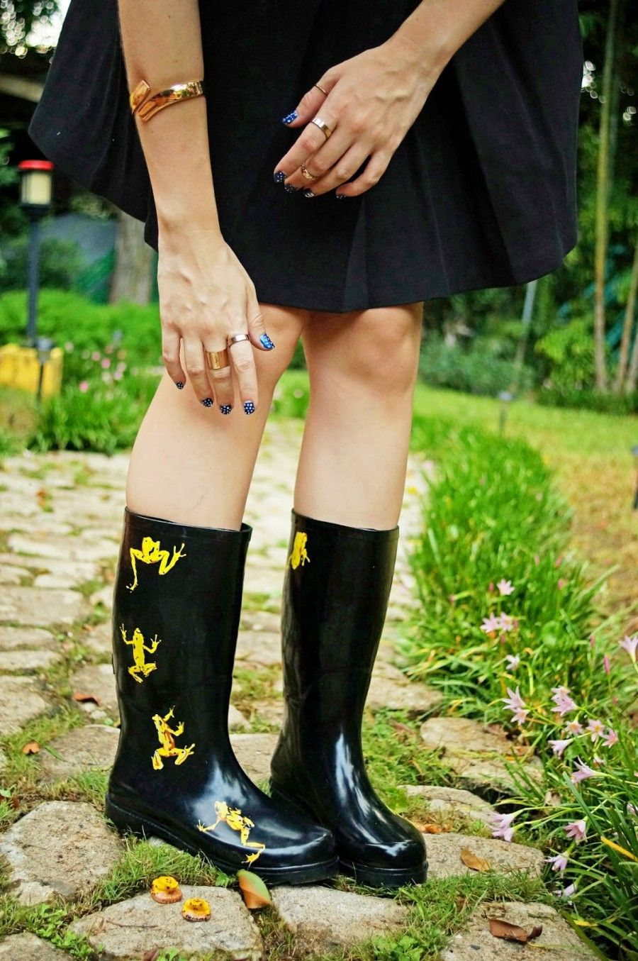Stivali da pioggia di gomma decorati a mano