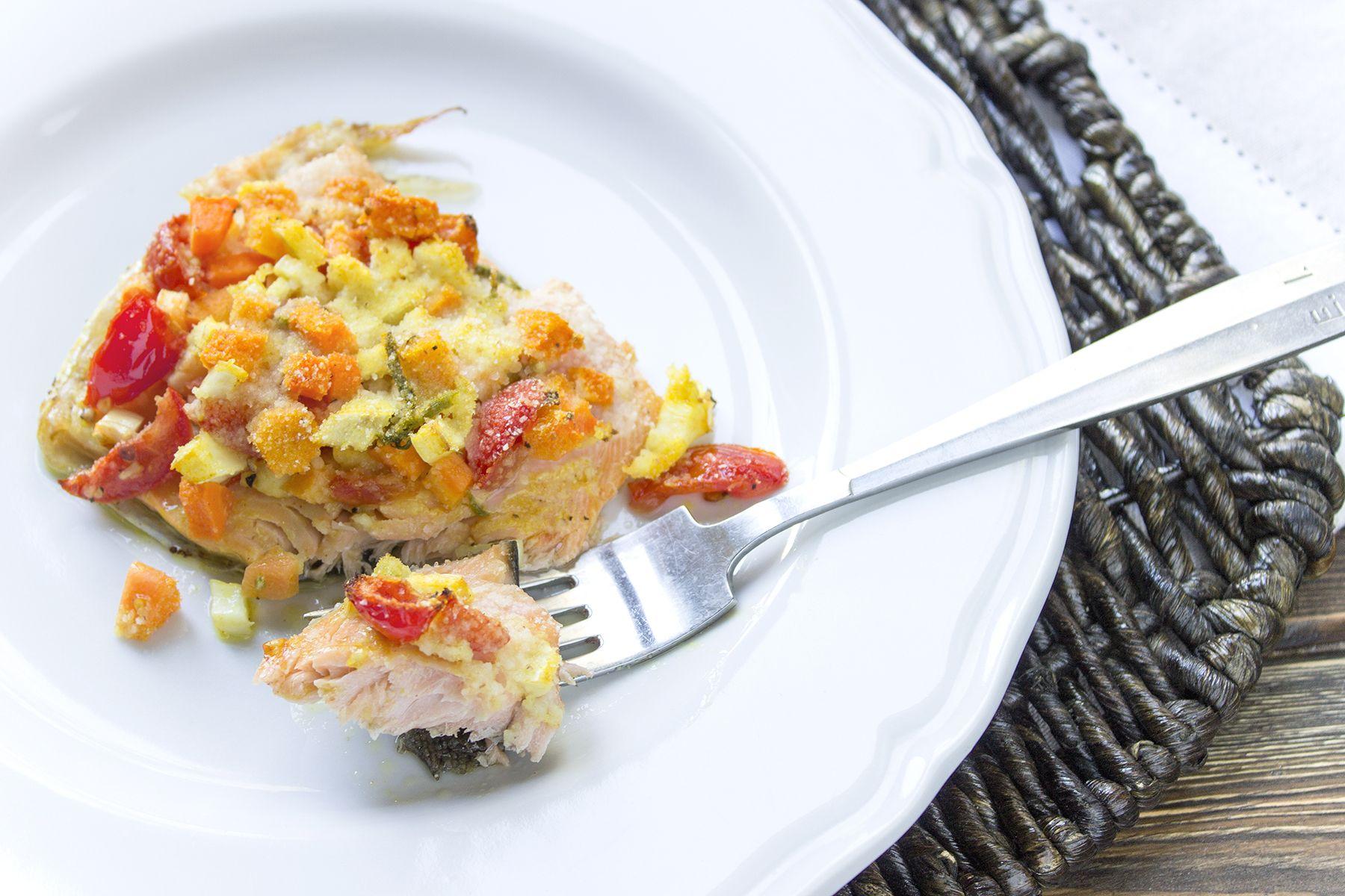 Filetto di trota salmonata con verdure croccanti