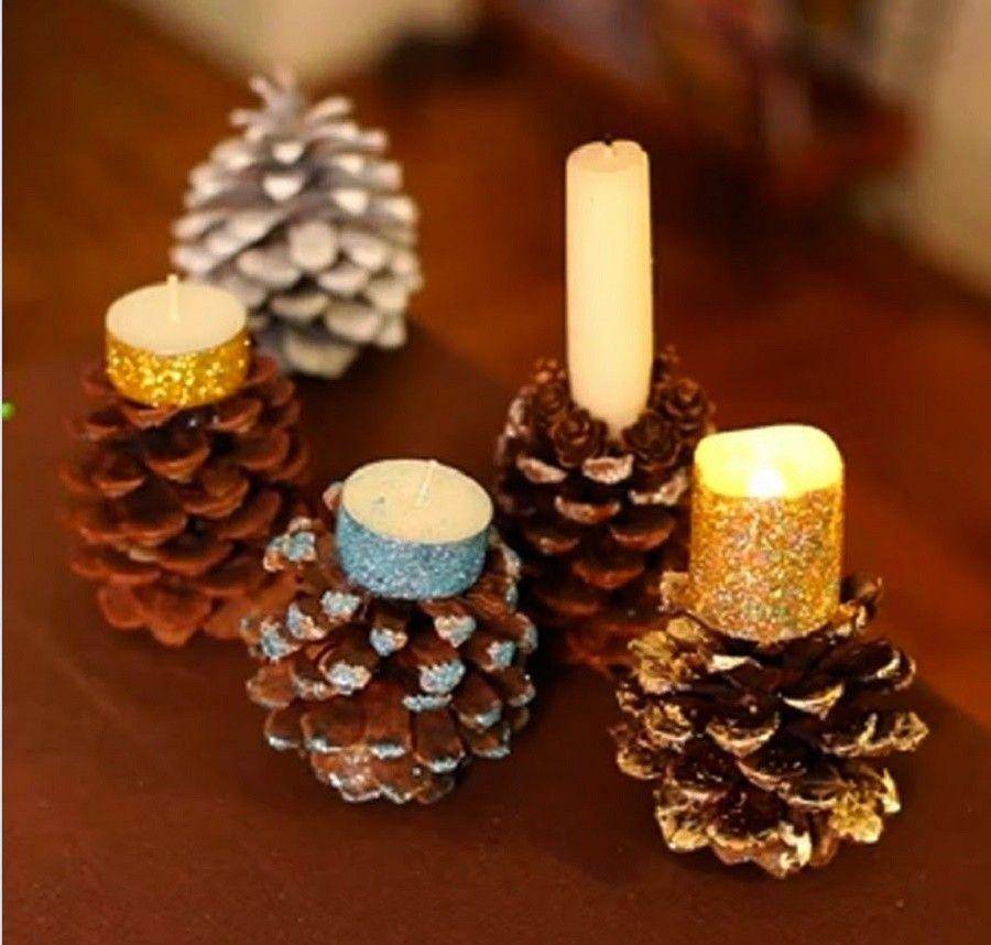 6 modi per decorare casa con le pigne bigodino - Portacandele natalizi fai da te ...