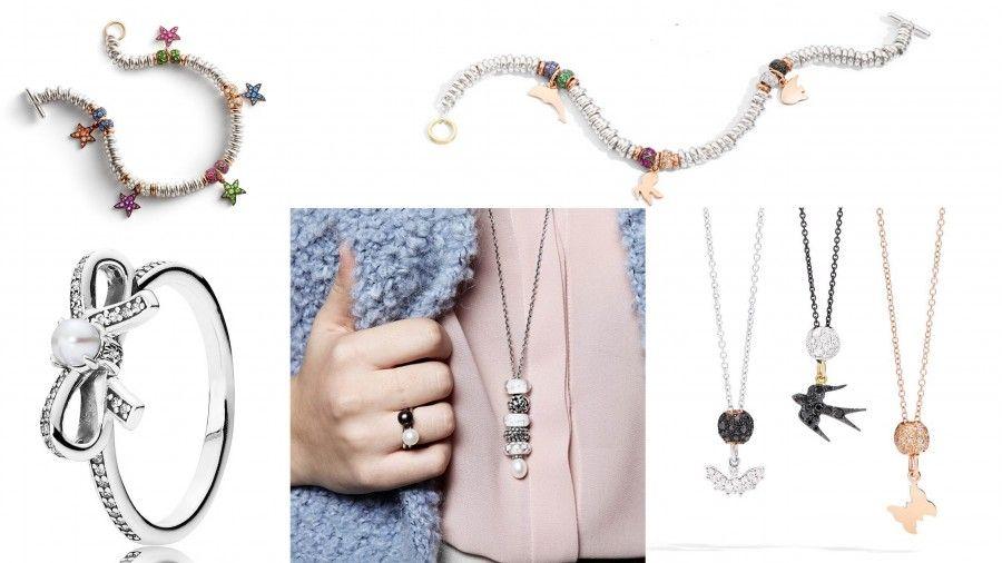 Bracciali, anelli e collane di Dodo (bracciali in alto e collane in basso a destra), Trollbeads( collana e anello centrale), Pandora (anello con fiocco)