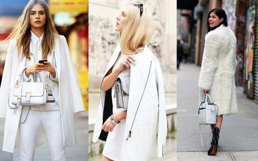 Pantaloni, camicetta e cardigan bianco con sopra un cappotto in tinta: il look perfetto per il giorno di Natale