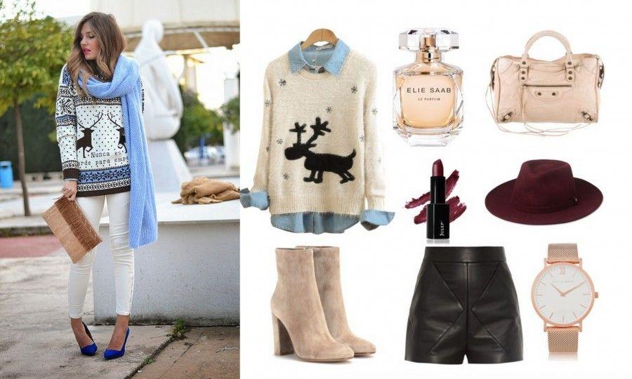 L'outfit per un aperitivo natalizio? Maglioncino con le renne, shorts in pelle, stivaletti e cappello
