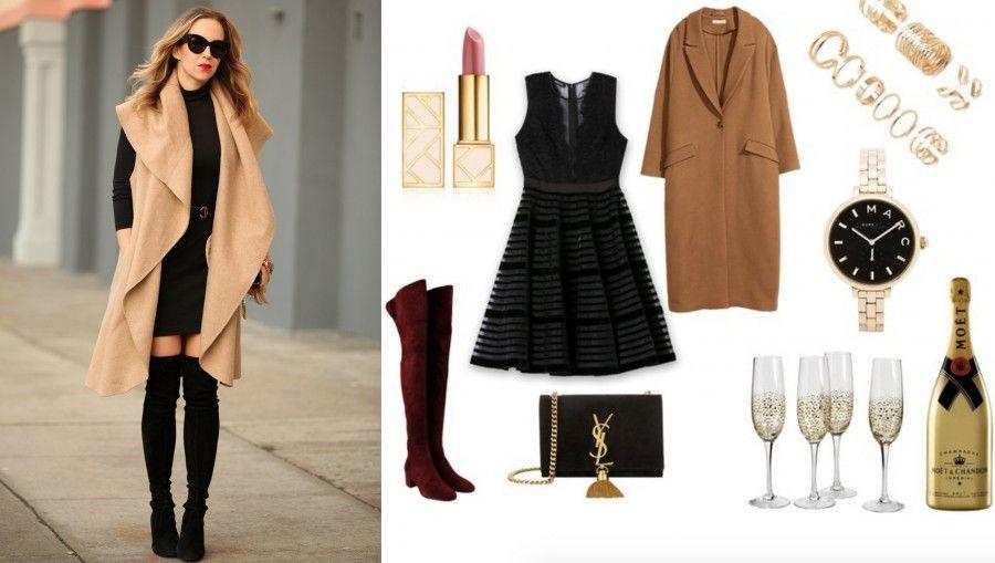 Mini dress, cuissard bordeaux e un maxi cappotto beige