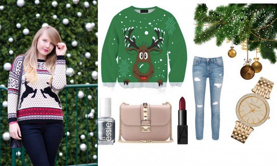 Un brunch a tutta comodità: maglione natalizio, jeans e scarpe comode