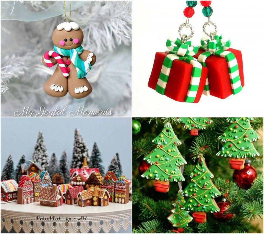 Decorazioni in fimo con tema natalizio