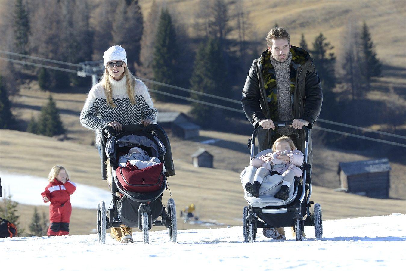 Michelle Hunziker, Tomaso Trussardi e le figlie Sole e Celeste in montagna