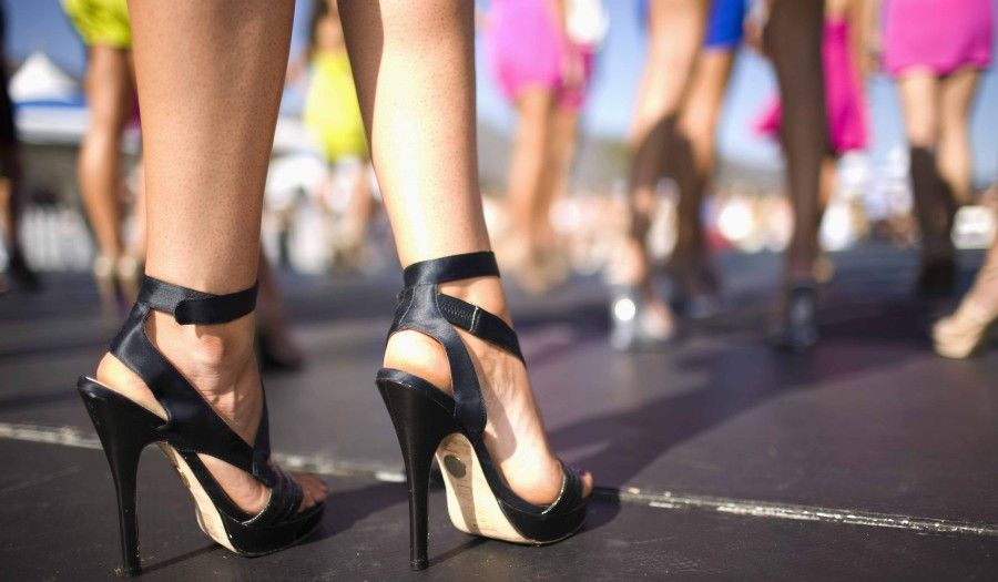 Close up of a competitors stiletto heel shoes at the 6th Annual Miss Malibu Pageant at Malibu Bluffs Park. Malibu, California.