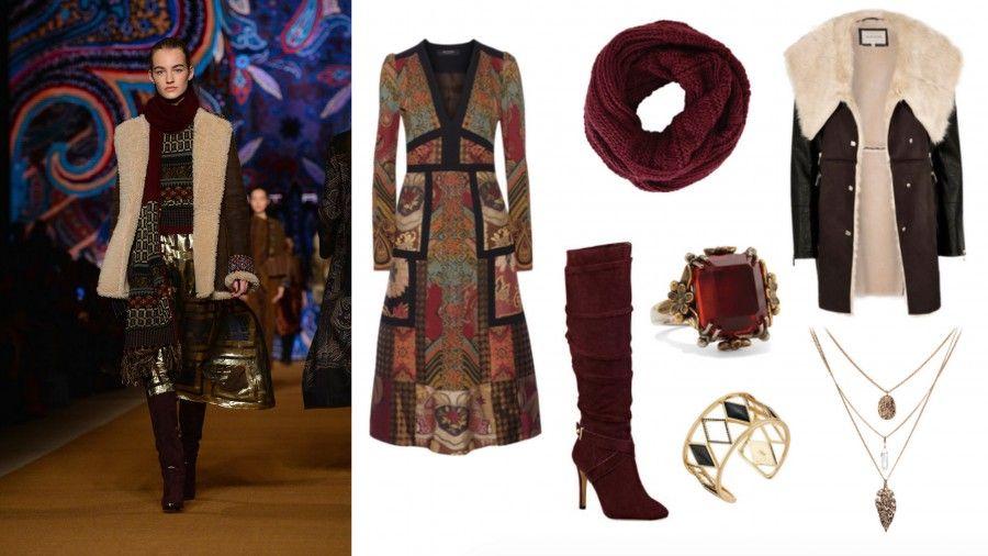 Look di Etro che in passerella ha portato un look tutto giocato sui toni del borgogna e dell'oro.