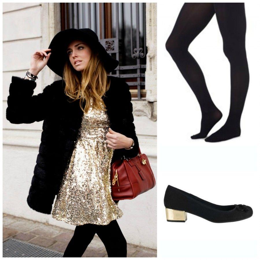 Vestito paillettes nero scarpe