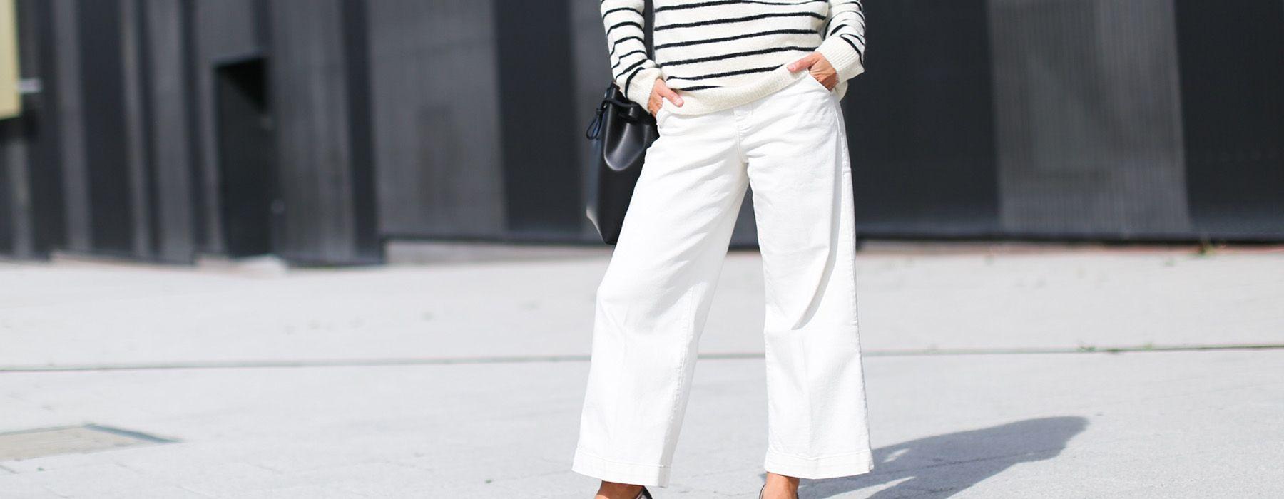 Come indossare i pantaloni bianchi in inverno