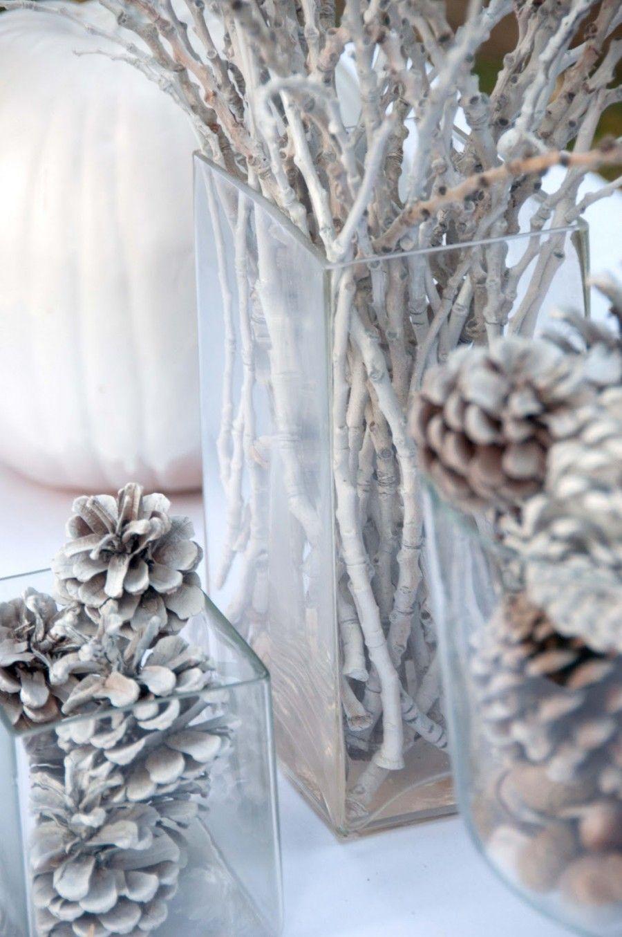 decorazioni invernali casa pigne ramoscelli