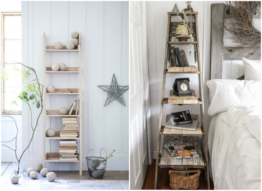 Diy ad ogni casa la sua libreria bigodino for Scala in legno shabby