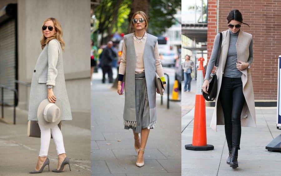 Street Style look per indosssare un gilet sui toni del beige e del grigio