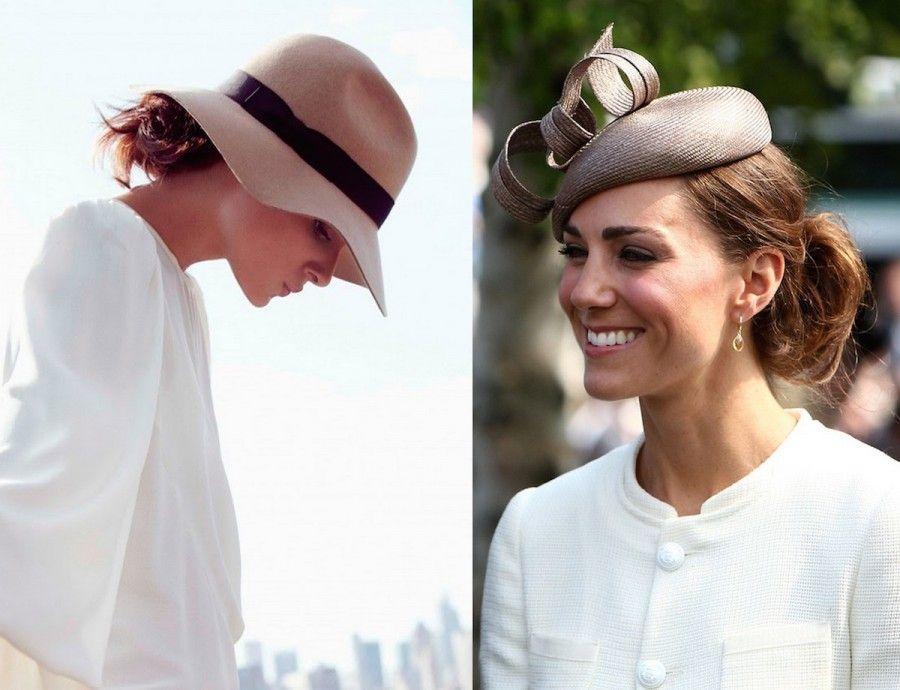 Due diversi cappellini Bon ton: stesso chignon basso