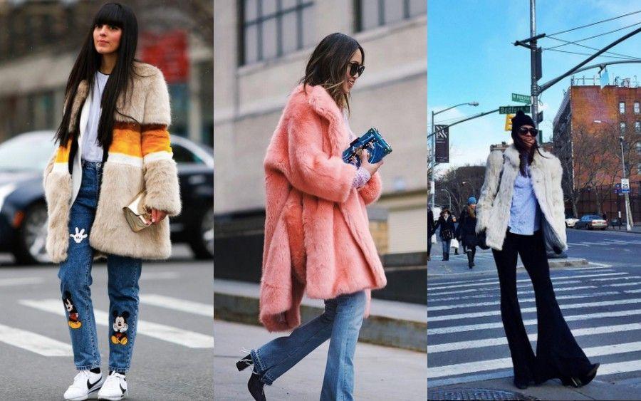 La pelliccia colorata è un must per le blogger alla NYFW